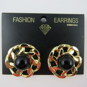 Fashion Earring with Faux Black Pearl